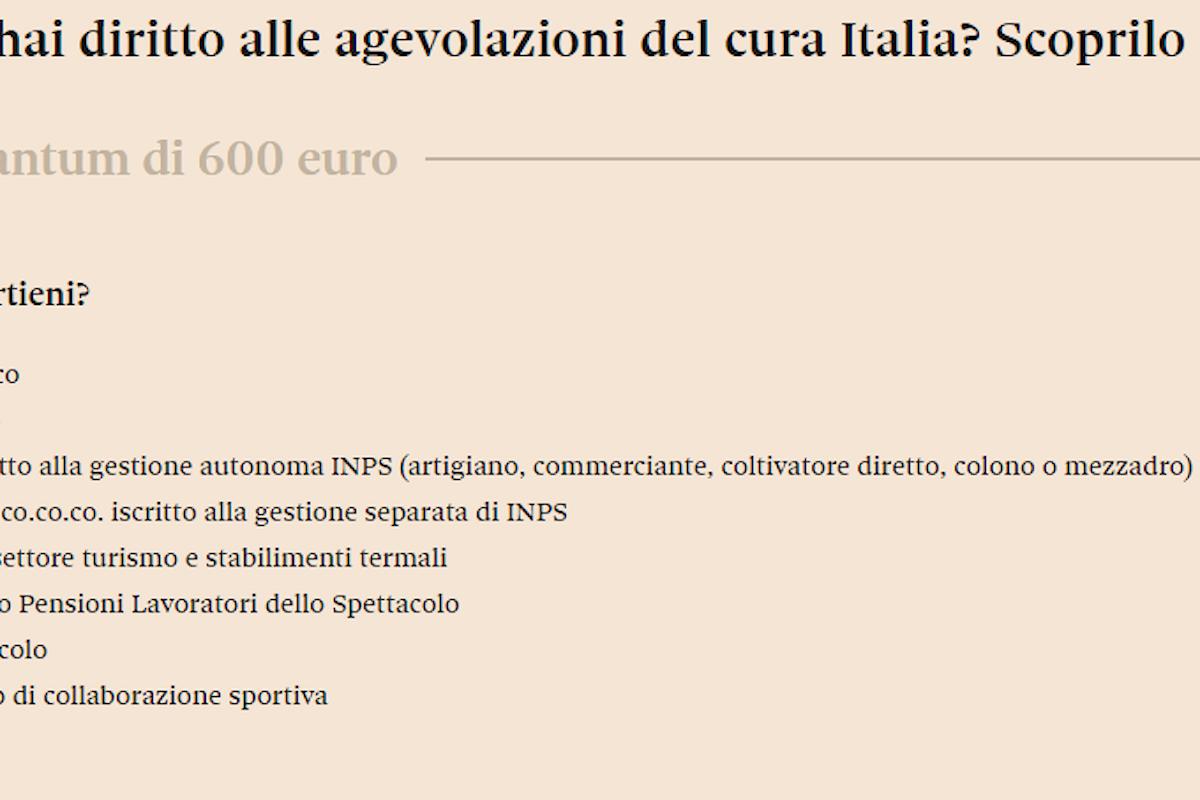 Vuoi sapere se hai diritto all'indennità di 600 euro del Cura Italia? Scoprilo adesso