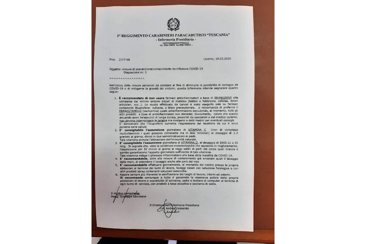 Roma: il documento attribuito ai Carabinieri del Tuscania su vitamina C contro coronavirus è un falso?