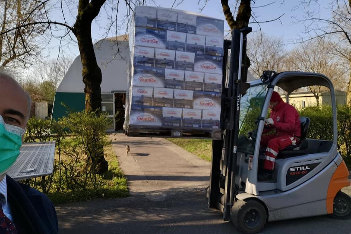 La Ganten dona 13.000 bottiglie d'acqua al comitato regionale Lombardia della Croce Rossa Italiana