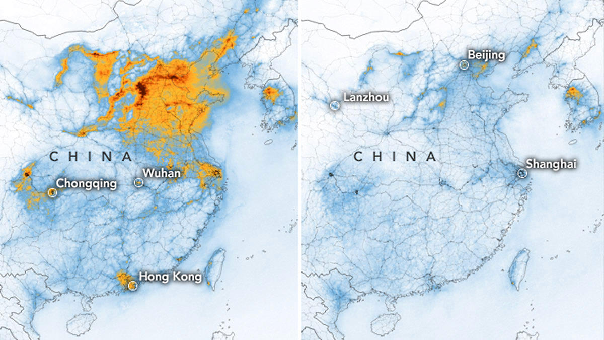 Effetto coronavirus in Cina: ne risente l'economia ma diminuisce drasticamente l'inquinamento