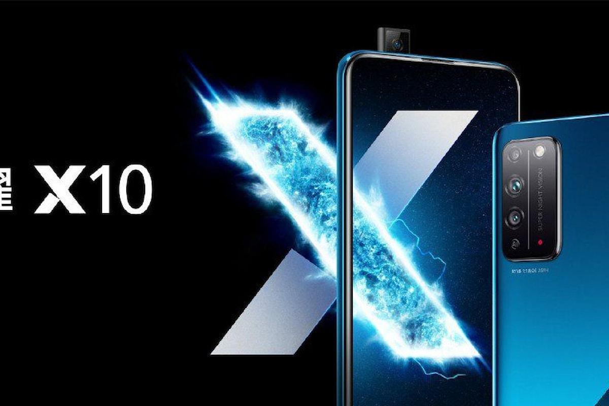 Honor X10 presentato ufficialmente: smartphone di fascia media con 5G, fotocamera pop-up ed ampio display