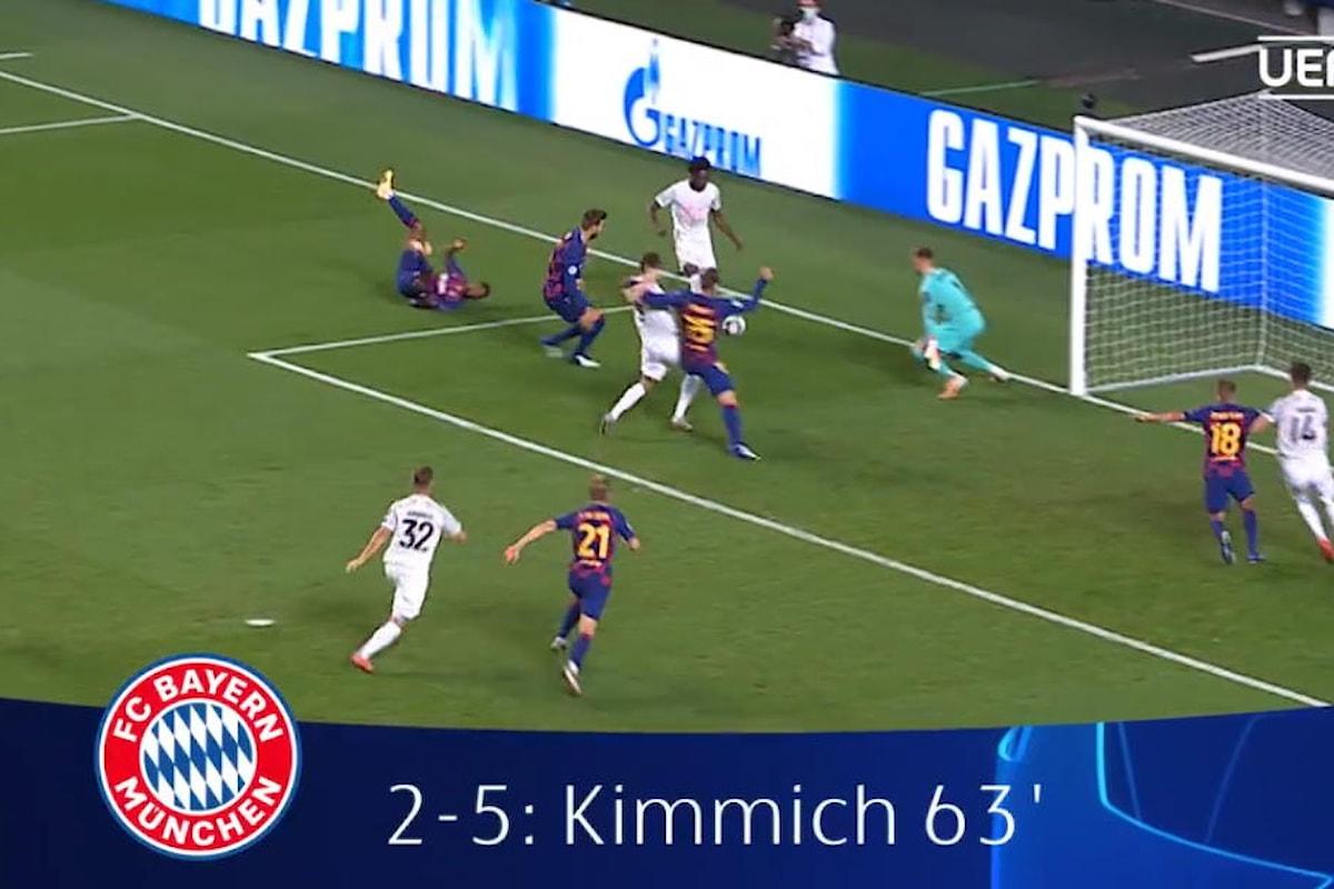 Champions League, il Bayern seppellisce il Barcellona 8-2 e in semifinale affronterà la vincente tra Manchester City e Lione
