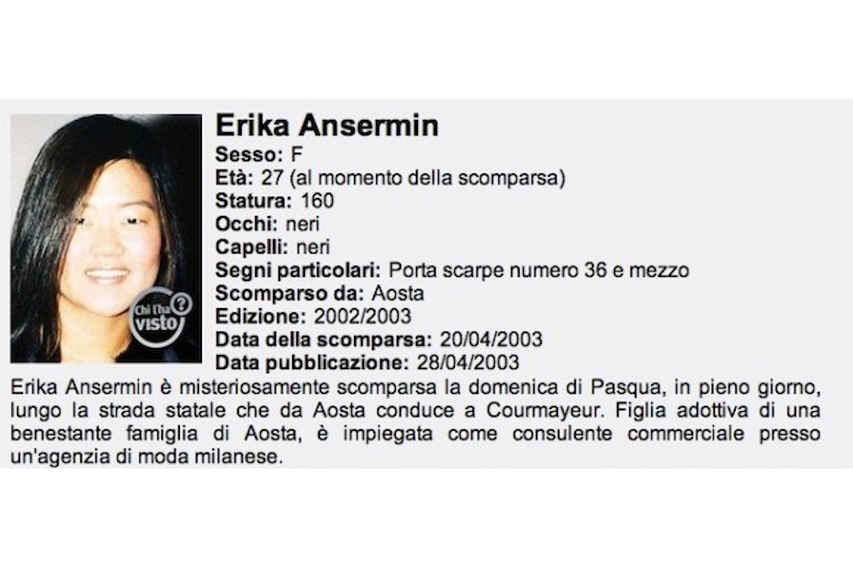 Chi l'ha vista, Erika Ansermin? I parte