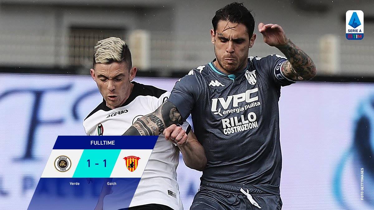 Spezia- Benevento 1-1 (0-1) nel primo anticipo del sabato della 26esima giornata di Serie A