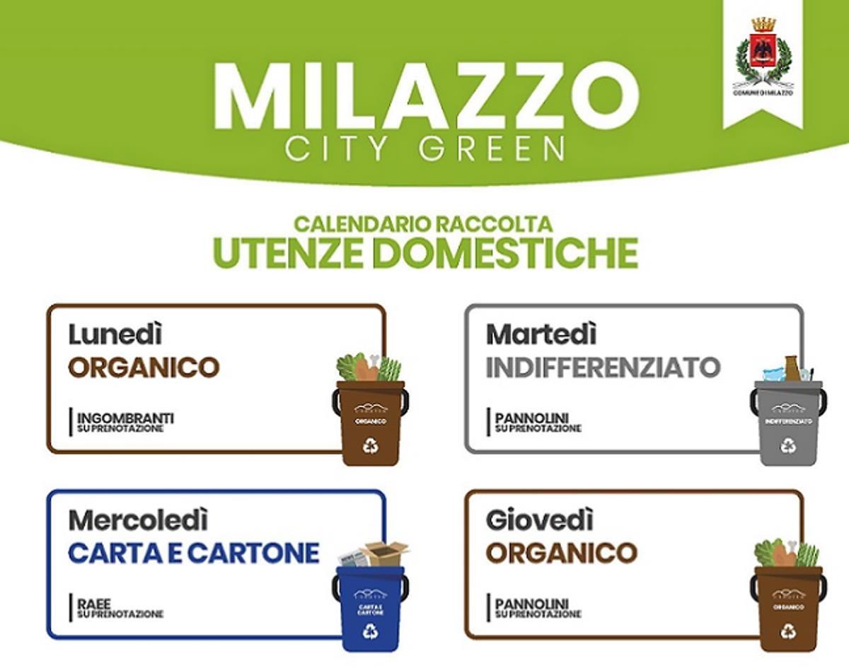 Milazzo (ME) - Servizio d'igiene urbana, nuovo calendario di raccolta per utenze domestiche e commerciali