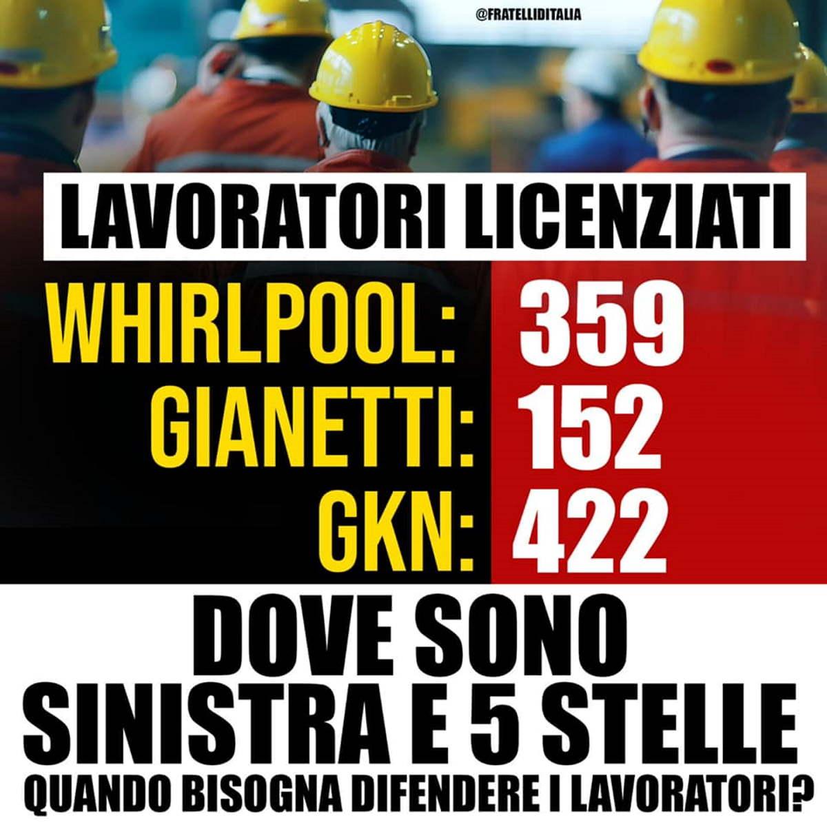 Una vera e propria provocazione la difesa dei lavoratori italiani da parte di Giorgia Meloni