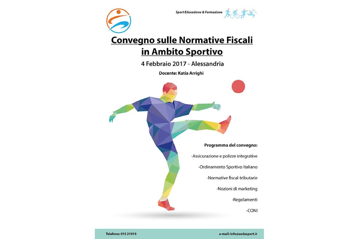 Convegno sulle normative fiscali in ambito sportivo il 4 febbraio 2017 ad Alessandria