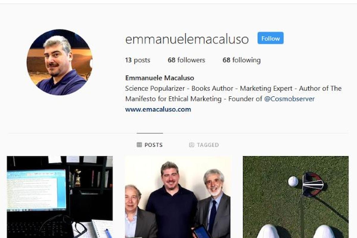 Il divulgatore scientifico Emmanuele Macaluso sbarca su Instagram