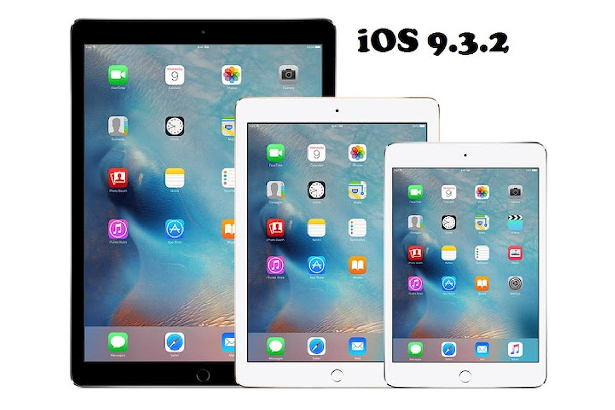 Apple, arriva l'aggiornamento ad iOS 9.3.2