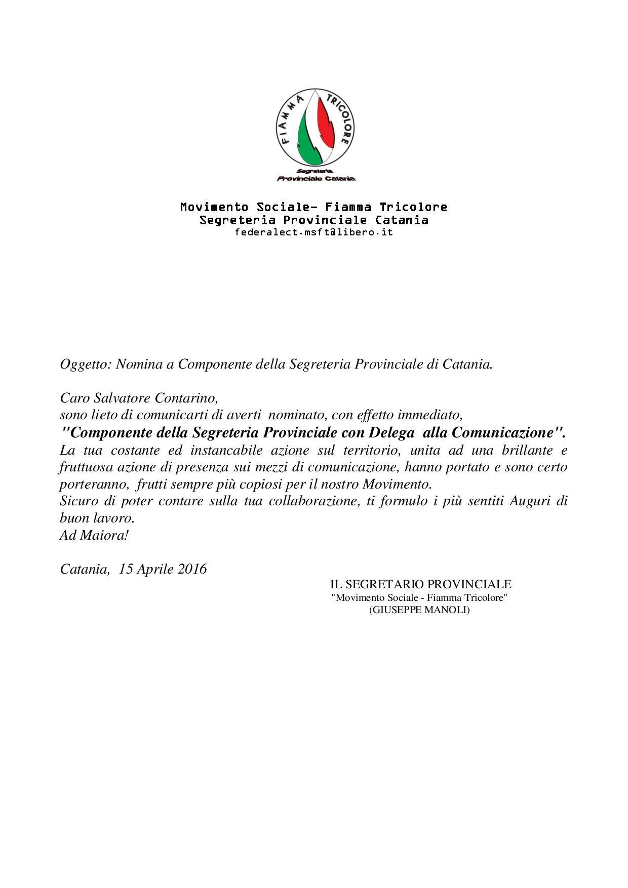 Fiamma Tricolore: Salvo Contarino neo eletto nella Segreteria Provinciale di Catania