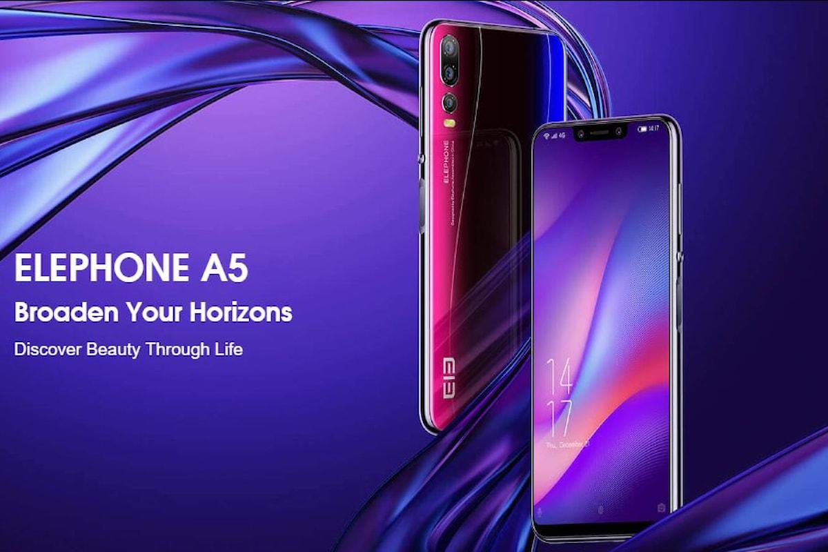 Elephone A5: smartphone low-cost con 5 fotocamere che ricorda Huawei P20 Pro, ma vuole sfidare il Samsung Galaxy A7 2018