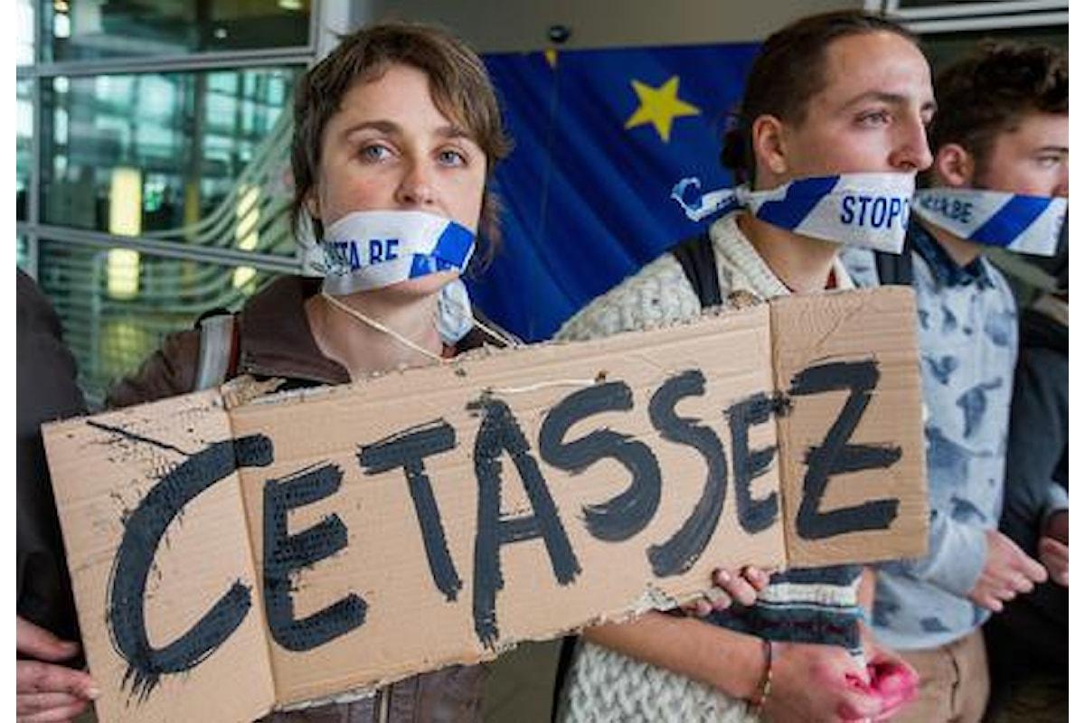 Sit-in protesta anti Ceta a Consiglio Ue