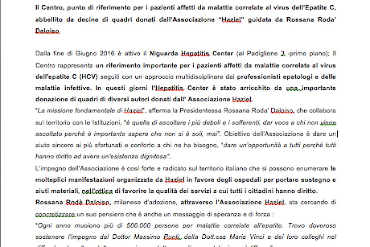 """Niguarda Hepatitis Center"" & Arte"